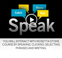 You will interact with Rosetta Stone Course by speaking, clicking, selecting phrases and writing.