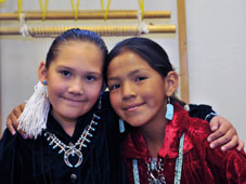 2 Native American girls smiling