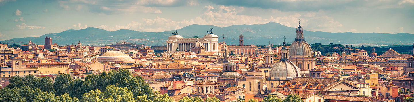A cityscape of Rome, Italy. Learn Italian with Rosetta Stone.