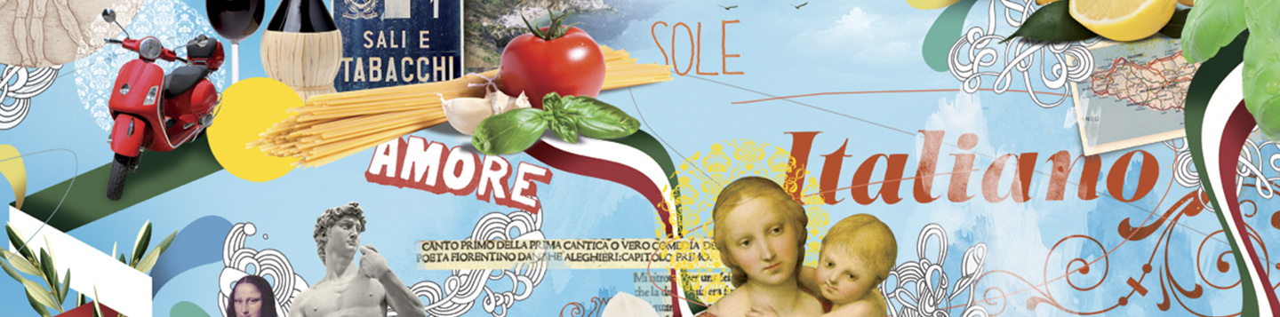 Learn Italian with Rosetta Stone. An artistic collage of various Italian items, places, and art.