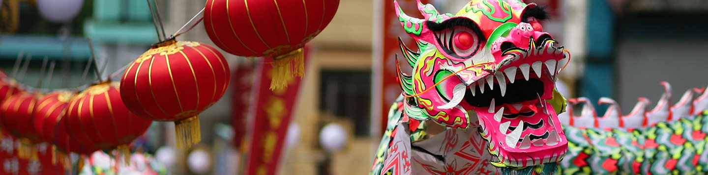Learn Chinese with Rosetta Stone. Colorful Chinese dragon costume and red paper lanterns.