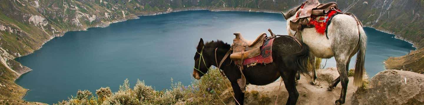 Quilotoa Lake in Ecuador header of Rosetta Stone Most Common Action Verb in Spanish page