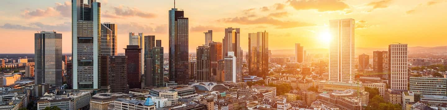 sunset in Frankfurt in Germany header of Rosetta Stone German Language Lessons page