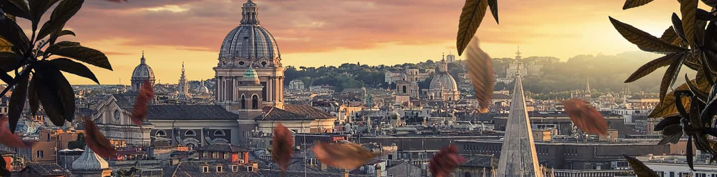 roof view of Italian city with church dome on How to say good Evening in Italian language page
