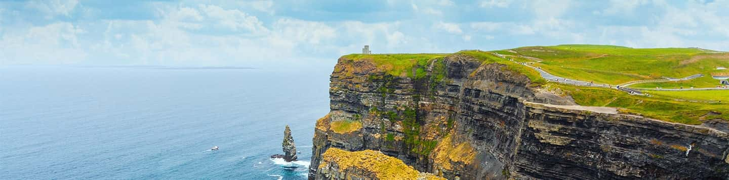 Cliffs of Moher in Ireland header of Rosetta Stone Irish Language Phrases page