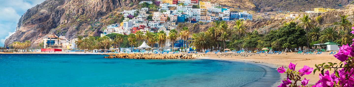 Tenerife beach in Spain header of the page Spanish Common Words