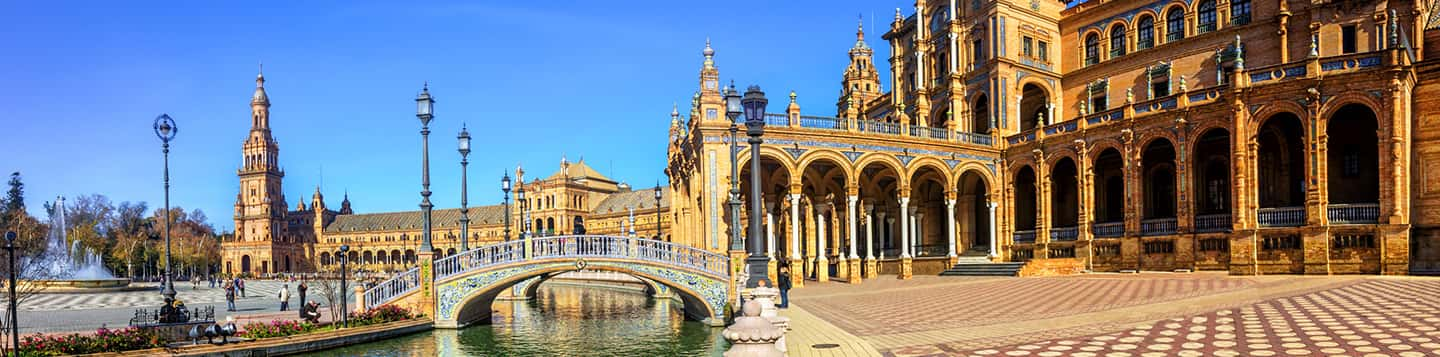 Plaza de Espana Historical landmark in Seville in Spain header of Rosetta Stone Spanish Lessons for Beginners page