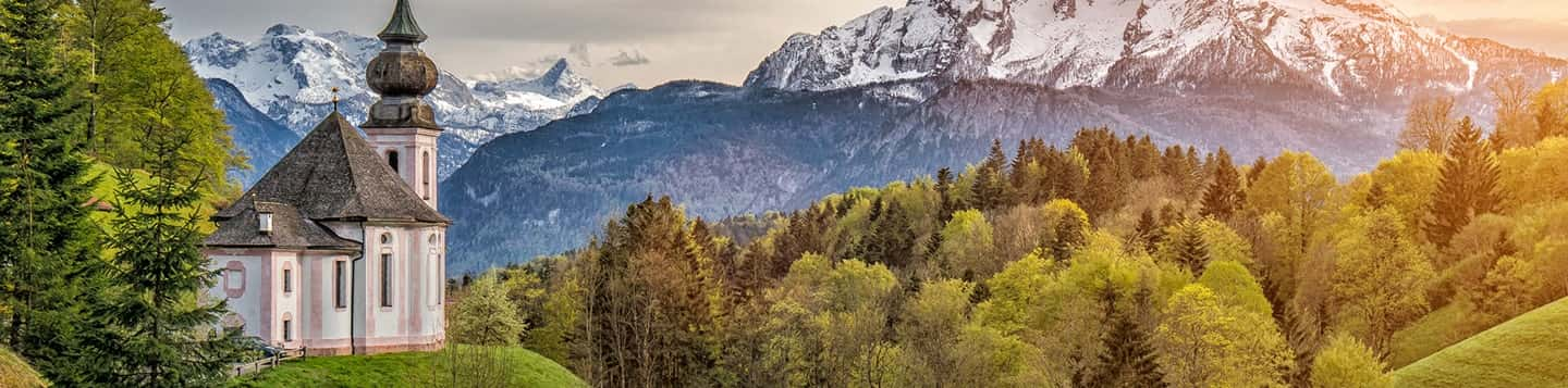 Bavarian Alps in Germany header of Rosetta Stone Welcome in German page