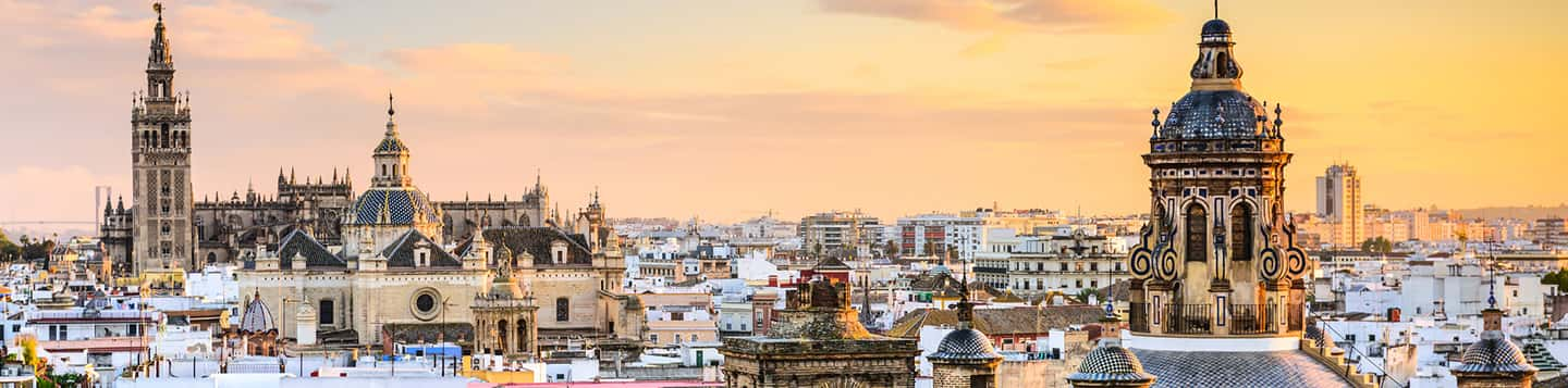view of Spanish city with church dome as header of Has in Spanish Language page