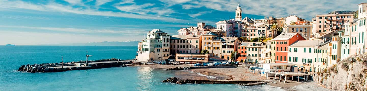Coastal town view header of Rosetta Stone Italian Grammar Rules page